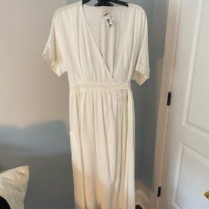 Urban Outfitters linen long wrap dress